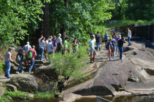 RCW students hiking at historic Yates Mill Pond