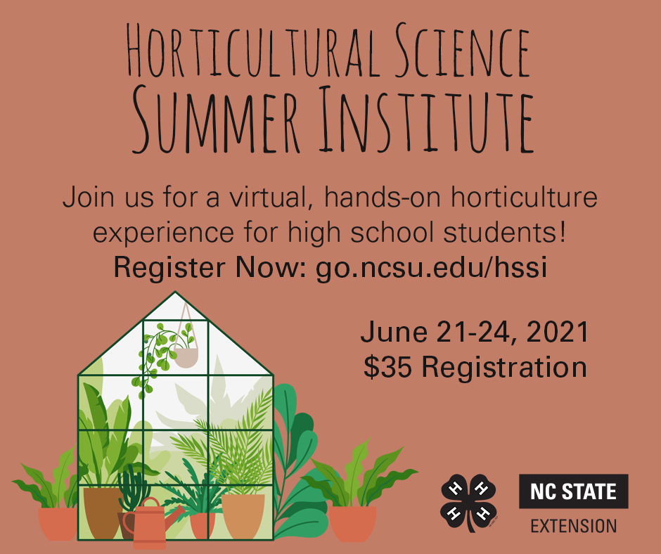 Flyer that shows a greenhouse and invites youth to participate in the Horticultural Science Summer Institute
